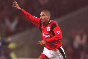 Stan Collymore celebrates scoring for Nottingham Forest. Mandatory Credit: Mike Cooper/ALLSPORT