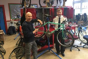 Douglas Cox and Captain Simon Clampton, at Recycles Blackpool, appeal for bicycle donations