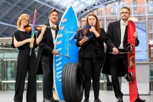 The Lost Property Orchestra featuring the Royal Philharmonic playing an ode to the owners of instruments left behind. Image supplied.
