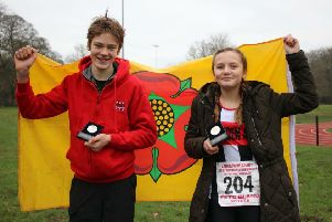 Will Walker and Joss Waiting celebrate their call up for the Lancashire cross country team