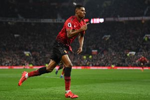 MANCHESTER, ENGLAND - JANUARY 19:  Marcus Rashford of Manchester United celebrates after scoring his sides second goal during the Premier League match between Manchester United and Brighton & Hove Albion at Old Trafford on January 19, 2019 in Manchester, United Kingdom.  (Photo by Gareth Copley/Getty Images)