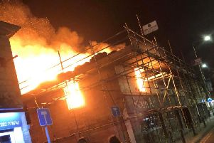 The blaze at Padiham's Storm Art Gallery in Burnley Road at its height.