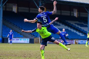 Actions from FC Halifax Town v Havant and Waterlooville, at the Shay. Pictured is Matty Brown