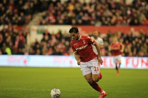 A welcome sight for Nottingham Forest fans as Joao Carvalho carries the ball forward against Aston Villa. Pic by Jez Tighe.