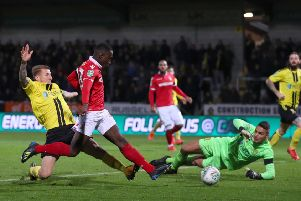 Arvin Appiahn taps in for Forest against Burton Albion in the League Cup