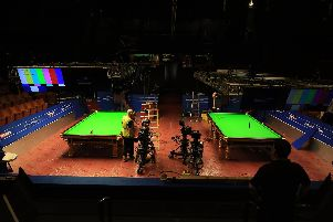 Preperations are well underway at the Crucible Theatre in Sheffield ready for the start of the Snooker World Championships. Picture: Chris Etchells