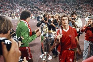 MUNICH, GERMANY - MAY 30:  Winning goalscorer Trevor Francis (r) and goalkeeper Peter Shilton parade the trophy after the 1979 European Cup Final between Nottingham Forest and Malmo at the Olympic Stadium on May 30, 1979 in Munich, Germany.  (Photo by Steve Powell/Allsport/Getty Images)