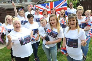Friends supporting Hartlepool's Michael Rice in the Eurovision Song Contest Final.