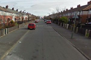Lindel Road, Fleetwood, where a man was trapped under a jacked car