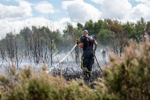 A Notts fireman at a grass fire.