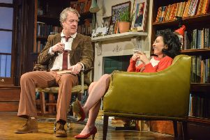 Stephen Tomkinson as Frank and Jessica Johnson as Rita in Educating Rita. Photo by Robert Day.