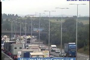 Traffic is building up on the M1 after a crash