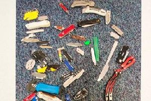 Some of the knives handed in at Preston Crown Court