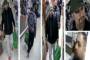 Police would like to speak to these men in connection with the theft of several designer fragrance sets from a Ripley shop