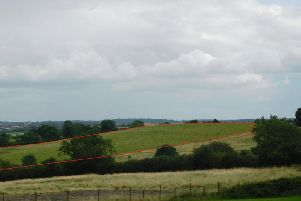The former waste dump known as LS01 - marked in red. Photo by Eddie Bisknell.