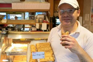 Staceys Bakery owner, David Stacey, with their new vegan sausage rolls.