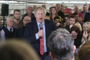 Boris Johnson meets the workforce at John Smedley ltd near Matlock