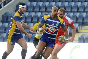Tom Varndell is back in the Carnegie to face Nottingham. Picture: Steve Riding.