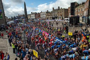 Start of the junior men's road race in Richmond during the UCI World Championships 2019. Picture: Bruce Rollinson.