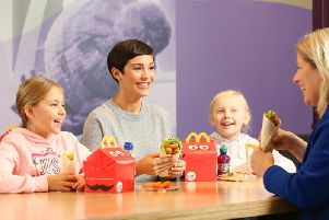 Singer and mum of two, Frankie Bridge of The Saturdays, was one of the first customers to try the new McDonald's vegetarian wrap.