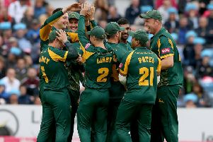 Notts Outlaws celebrate a wicket during last season's T20 Vitality Blast. (PHOTO BY: Nigel Roddis/Getty Images)