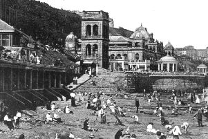 Picture shows Thomas Verity's Grand Hall with the two bandstands to the right and the three-storeyed viewing tower centre left. Verity's Grand Hall was completed in August 1879 with the formal opening taking place the following summer by Sir Francis Wyatt Truscott, Lord Mayor of London. In 1913 a new bandstand with a marble forecourt-colonnade and Grand Hall Caf� were completed. The tower, known as Prospect Tower, was removed in 1920 and a roof garden added.'Photo reproduced courtesy of the Max Payne collection. 'Reprints can be ordered with proceeds going to local charities. Telephone 0330 1230203 and quote reference number