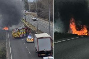 Car fire on the A38