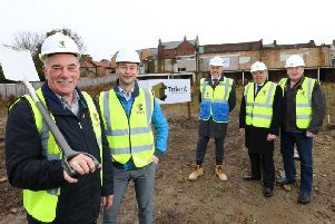 The ground-breaking in November - from left, Coun Russ Wallace; Coun Richard Wearmouth, chairman of Advance Northumberland; Paul Walker, regional commercial director at Tolent Construction Ltd, and Couns Bill Crosby and Malcolm Robinson.