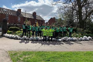 Chesterfield McDonald's staff with the bags of rubbish they collected.