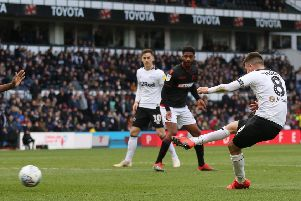 Derby County midfielder Mason MOUNT scores his 3rd gaol during the game between Derby County & Bolton Wanderers FC at Pride Park Derby 13-04-19 Image Jez Tighe