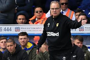 IPSWICH, ENGLAND - MAY 05: Leeds United Manager Marcelo Bielsa looks on during the Sky Bet Championship match between Ipswich Town and Leeds United at Portman Road on May 05, 2019 in Ipswich, England. (Photo by Stephen Pond/Getty Images)