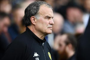 Marcelo Bielsa looks on during the win over Derby.