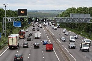 A lane has been closed on the M1 at junction 24a