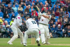 Gary Ballance hits a delivery from Jeetan Patel. at York CC. (Picture: Bruce Rollinson)