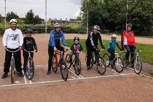Members of Heckmondwike Cycle Speedway Club at one of the free training sessions.