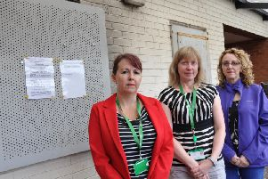 Housing officer Jane Eagan, anti-social behaviour officer Tammy Haywood, and Coun Julie Leigh are pictured, from left, outside the property.