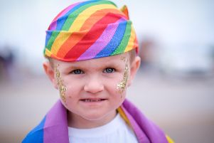 Morecambe Pride parade. Five- year-old Arlo Hayes-Cocker.