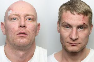 Carjackers Ryan Hurley (left) and Lee Cass laughed and joked as they were sentenced at Leeds Crown Court for terrorising a woman with a gun.