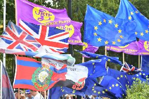 Rival Brexit protests outside the Houses of Parliament.