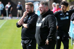 Joint Heanor managers Paul Postlethwaite and Glen Clarence.