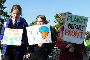 Some of the Harrogate pupils taking part in today's climate change.