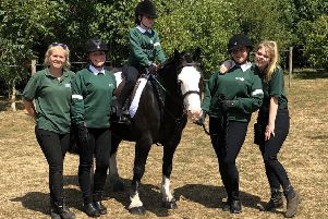 Pictured, from left, are Chloe Larkin, Emily Dougal, Kaelin Fairgrieve on Baz, Laura Winter and Eleanor Forbes.