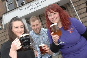 Harrogate Women on Tap festival founder Rachel Auty, right, with Richard and Danni Park, the owners of the festival's first base The Little Ale House in Harrogate. (1804142AM)
