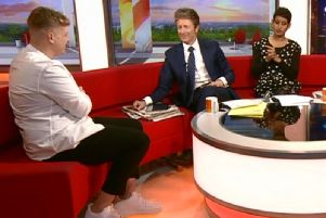 Michael on the sofa with Charlie Stayt and Naga Munchetty