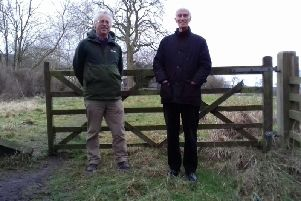 Residents Colin Elliff of Hartley Road and David Britain of Beckwith Road in Harrogate in front of the field  which may become housing.