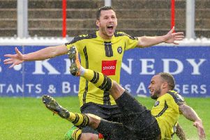 Aaron Williams celebrates after scoring Harrogate Towns second goal against Ebbsfleet United during a 2-0 victory earlier this season. Picture: Matt Kirkham