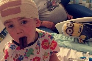 Taken two hours after Charlie's first brain tumour operation in 2015