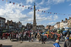 Tractors on Ripon Market Square.
