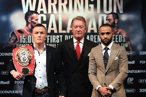 Josh Warrington (left) promoter Frank Warren (centre) and Kid Galahad after the press conference at Carriageworks Theatre, Leeds.  Simon Cooper/PA Wire
