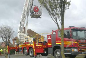 Firefighters at the scene in Fortyfoot on Saturday morning
